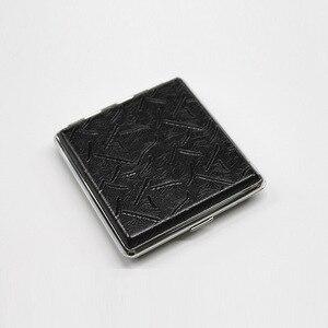Image 4 - עור קופסא סיגריות אישית Creative 20 מקלות עם גומייה אריזת מתנה חום מקרה מחזיק מתכת עור מחזיק סיגריות