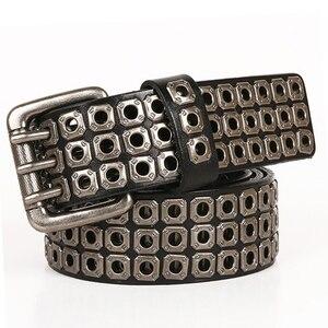 Image 2 - Heavy Metal Cowboy Punk Belt Genuine Leather Hip Hop Belts For Men Cross Rivet Jeans belt male Strap Ceinture Homme
