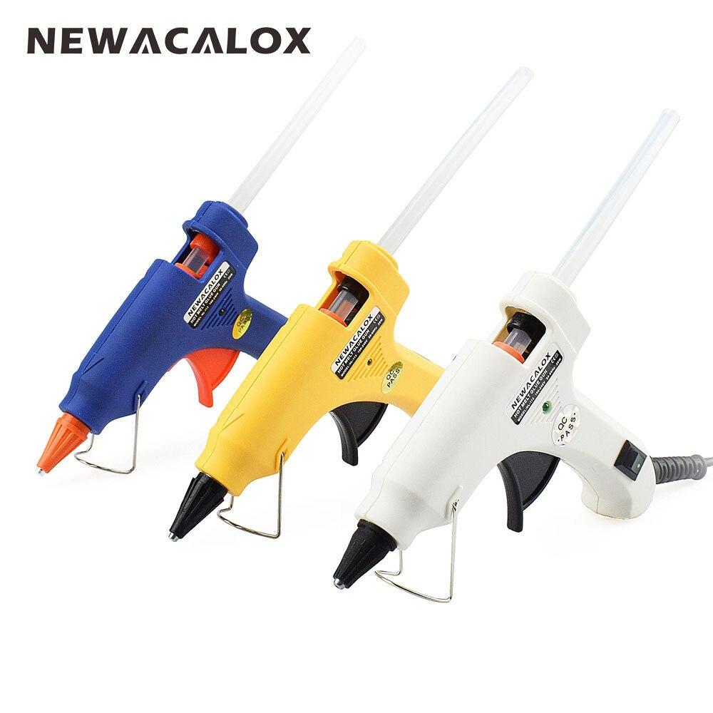 NEWACALOX 20 w EU/US Mini Hot Melt Pistola di Colla FAI DA TE Termo Elettrico Adesivo Del Silicone Pistola di Calore Strumento di Temperatura 20 pz 7mm Colla Stick
