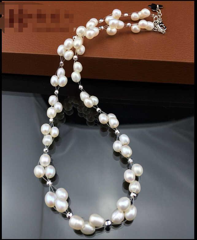 ZCD naszyjnik 519 + + + 5-6mm mocna, bez skazy, w kształcie ryżu naturalne perły, niebo gwiazda naszyjnik, 41 cm koreańska wersja