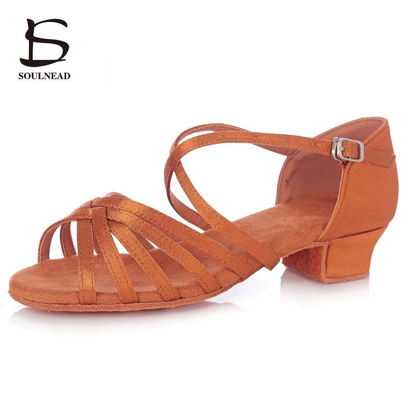 Ballroom Latin Dance Shoes For Girls Soft Sole Children Woman Professional Tango Salsa Dancing Shoes Low Heel 3cm Child Sandals