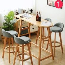 Барный стул Скандинавский современный минималистичный домашний высокий стул из твердой древесины барный стул Досуг задний стул табурет