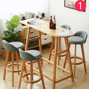 Bar Stool Nordic Modern Minimalist Home Solid Wood High Stool Bar Stool Bar Chair Leisure Back Chair Stool(China)