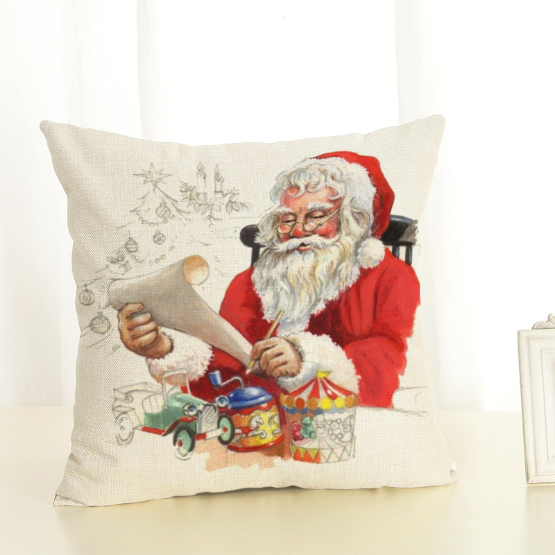 New Year Christmas Decorations For Home Christmas Pillow cover Santa Claus and Dog Cotton Linen Pillowcase Office Home Cushion (11)