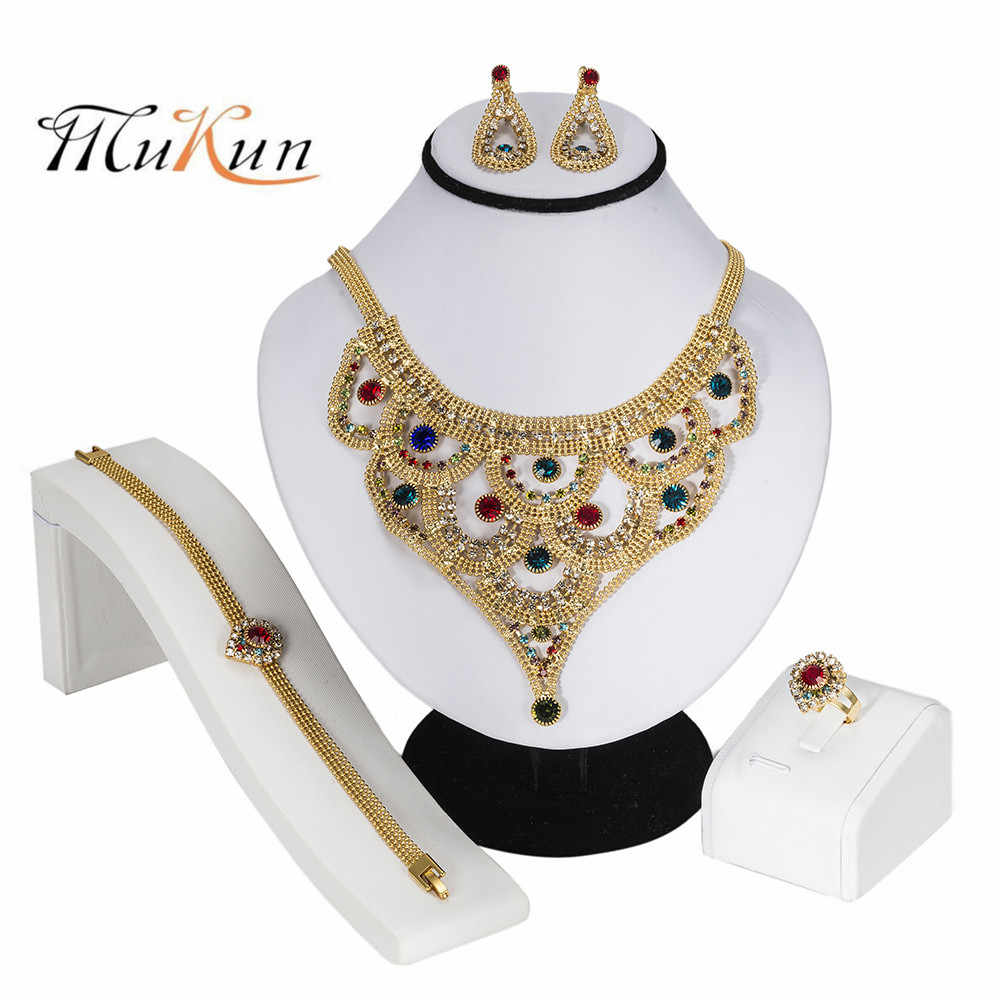 MUKUN Bridal Gift Nigerian Wedding woman accessories jewelry set African Beads Jewelry Set Fashion Dubai Colorful Jewelry Sets