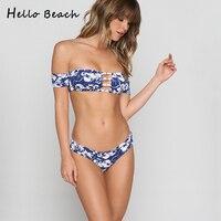HELLO BEACH Sexy Bikinis Women 2018 Swimwear Female Push Up Swimsuit Thong Biquini Bathing Suit Brazilian Bikini with sleeves