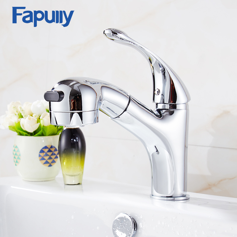 Fapully Brass Basin Faucets Single Hole Pull Out Bathroom Sink Faucet Mixer Taps pull out bathroom faucet brass basin faucets mixer hot cold water taps single hole single handle pull down faucets bathroom