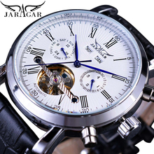 купить Jaragar Fashion Business Men Automatic Self-Wind Watch White Calendar Steel Mechanical Leather Band Wristwatch Relogio Masculino дешево