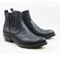 Для мужчин Slip на коровьей натуральной кожи рабочие ботинки 3,5 см каблуки западные ковбойские ботинки черные сапоги для мужчин botas Militares, EU38 45