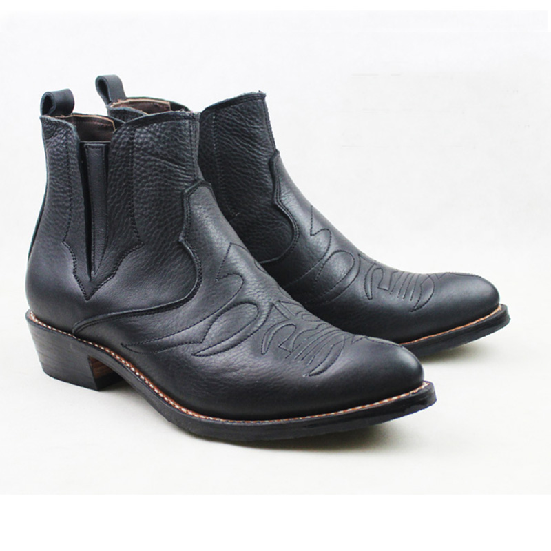 Men's Slip-On Cowhide Genuine Leather Work Boots 3.5cm Heels Western Cowboy Boots Black Botas Hombre Botas Militares, EU38-45