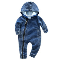 High Quality Baby Cowboy Jumpsuit Baby Boys Girls Wear Hooded Conjoined Clothes Jumpsuit Zipper Clothes