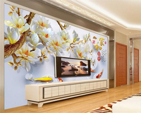 Custom HD Wallpapers HD 3D Stereo Colorful Orchid House And Rich TV Backdrop Wall Papel De