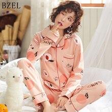 BZEL 2019 Women Cotton Sleepwear 2 Pieces Pyjamas Turn-down Collar Pajamas Cartoon Sleep