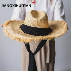 Image 1 - Fait à la main 100% raphia soleil chapeaux pour femmes noir ruban à lacets grand bord chapeau de paille en plein air plage été casquettes Chapeu Feminino