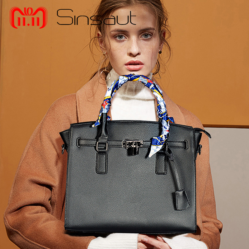 11.11 Sinsaut Women PU Leather Handbags Ladies Large Tote Bag Female Square Shoulder Bags Bolsas Femininas Crossbody Bags square pu tote bag
