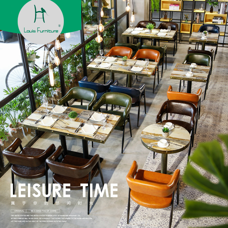 Louis Fashion Cafe Furniture Sets Table and Chair Combination Dessert Shop Milk Tea Shop Theme Western Restaurant Hotel