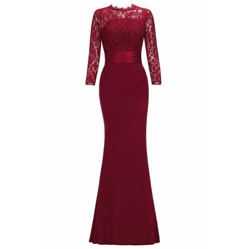 Элегантное длинное вечернее платье русалки с круглым вырезом и рукавом три четверти, вечернее платье, robe de soiree - Цвет: Burgundy