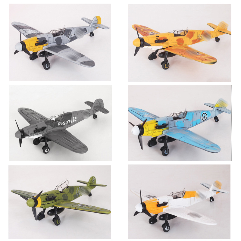6PCS Set WW2 Military Fighter BF 109 Plane Model Building Kits 4D Germany Airplane Bricks Scale Birthday Gifts For Boys