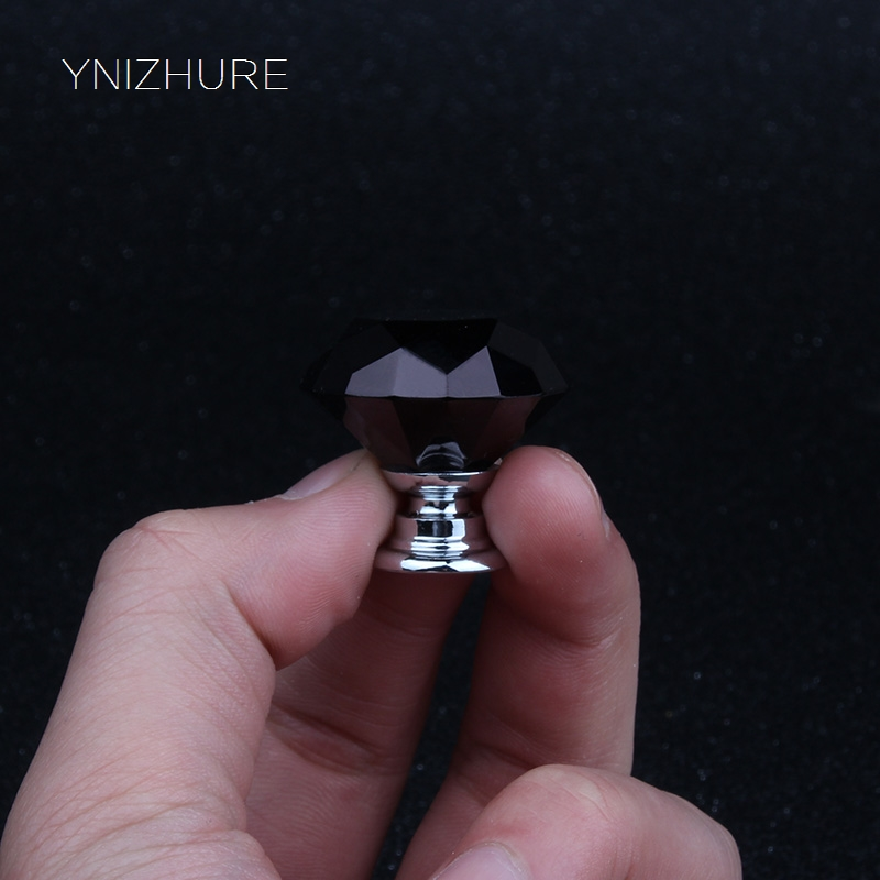 YNIZHURE Black Crystal Cabinet Handle Glass Diameter 30mm Kitchen T Bar Door Knob Furniture Drawer Cupboard Pull 10Pcs YZ-1002 128mm glass handle black crystal kitchen cabinet drawer handle bronze dresser cupboard door pull 5 vintage furniture handles