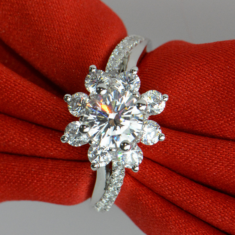 1 carat silver man made diamond flower wedding ring jewelry for women (JSA)