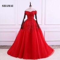SHAMAI Quinceanera платья с открытыми плечами Бальные платья длиной до пола аппликации Quinceanera платья Сладкие 16 Платья Vestido 15 Anos