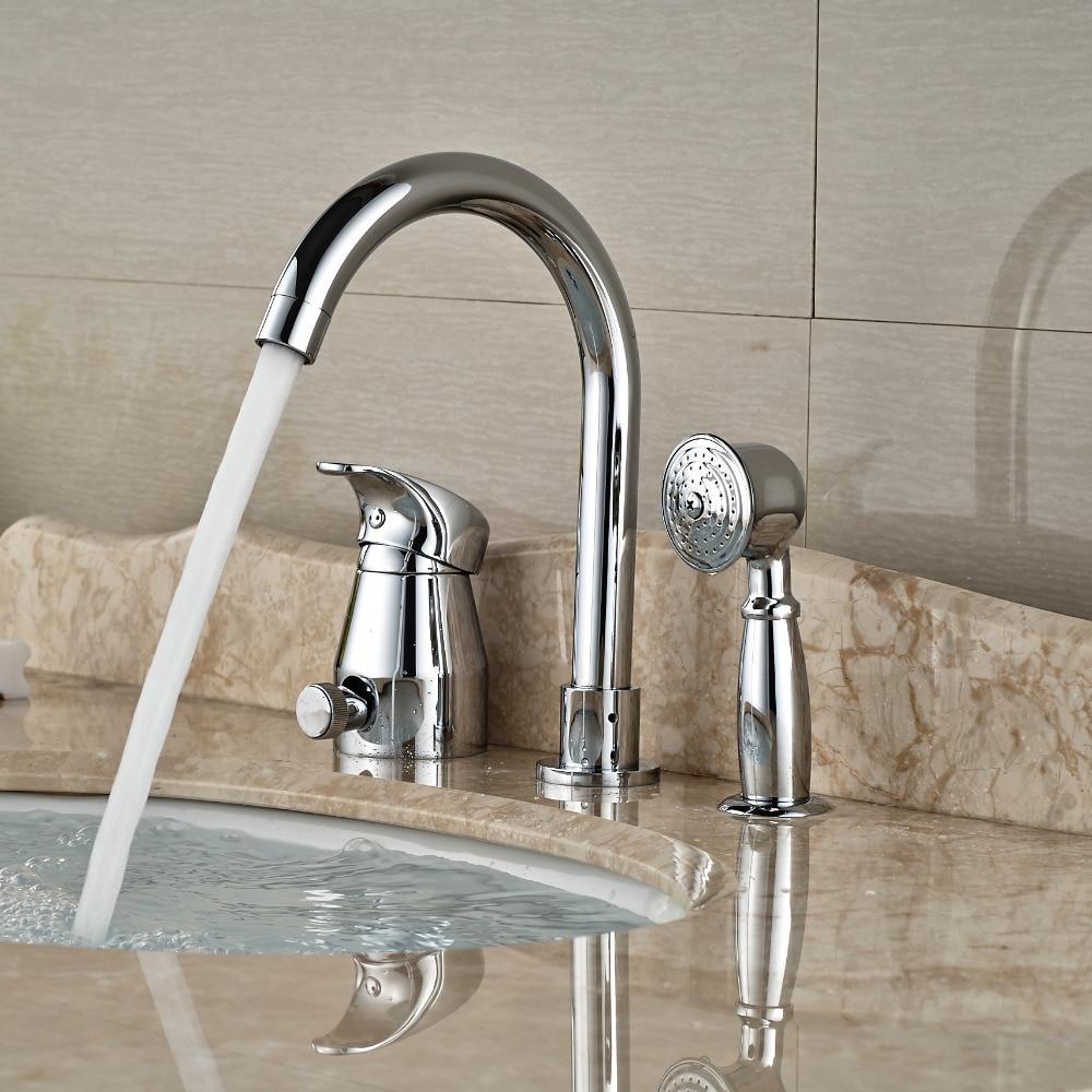 Deck Mount Goose Neck Bathtub Faucet Deck Mount Bathroom Tub Mixer Taps with Brass Handshower