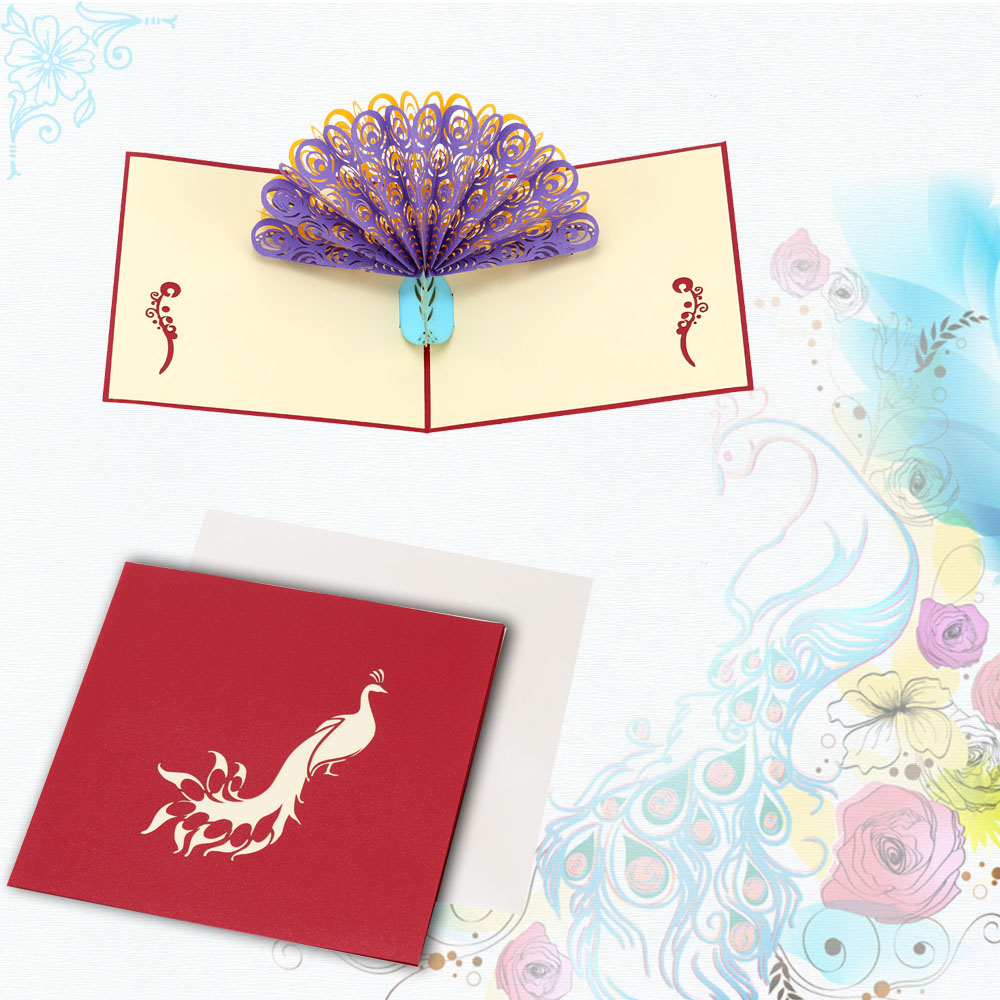 Handmade 3d pop up birthday card kirigami hollow folding greeting handmade 3d pop up birthday card kirigami hollow folding greeting christmas postcard with envelope colorful peacock design in cards invitations from home bookmarktalkfo