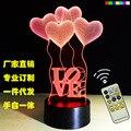 Corazón ballo0n 3D USB noche de luz Led de 7 colores que cambian la lámpara de estado de ánimo de navidad táctil remoto botón de vida/dormitorio mesa/iluminación de escritorio