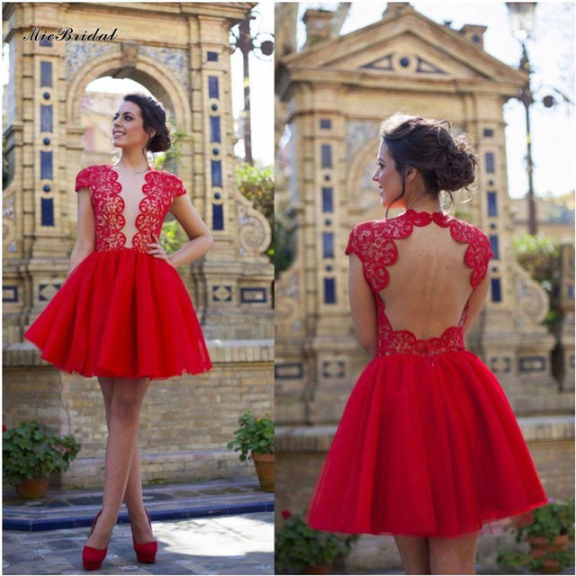 69bfb842567 Elegant Dresses For Prom Short Cap Sleeve Lace Cocktail Dresses Tulle Graduation  Dresses Sexy Red Short
