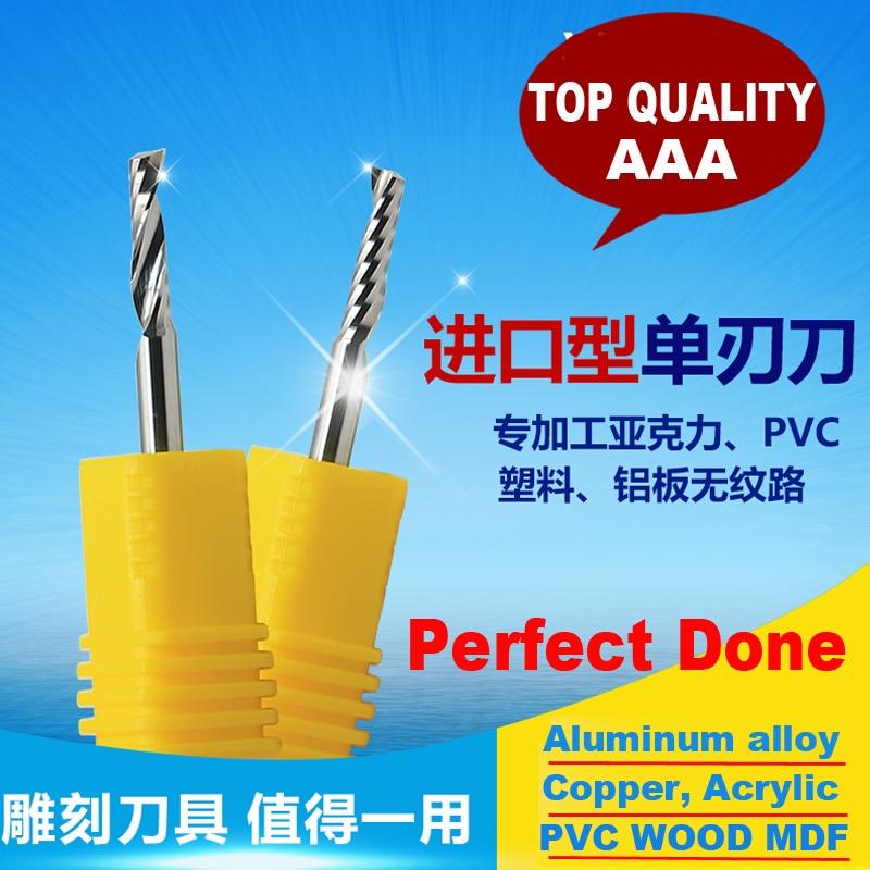 2pcs AAA Series Acrylic Aluminum Cutting Copper Bronze CNC Metal Cutter 1 Flute Spiral BIT EndMill Alloy Brass Fraser Fresa