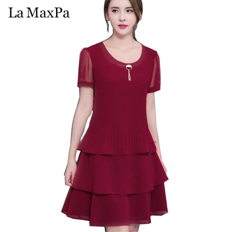 LA MAXPA 2019 New Arrival Women Summer Dress Elegant Ladies Party Cocktail Ruffles Dress Plus Size 4XL Loose Chiffon Solid Dress
