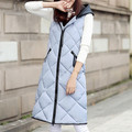2016 Autumn Winter Slim Long Warm Vest Female Down Sleeveless Cardigan Plaid Waistcoat Jackets For Women Hooded Vest Gilet Femme