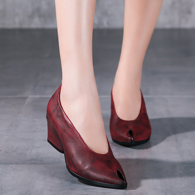 2017 Spring New Genuine Leather Shoes Thick Heels High Heels Shoes Fashion Handmade Complex Patina Retro Women Shoes 5367A-3