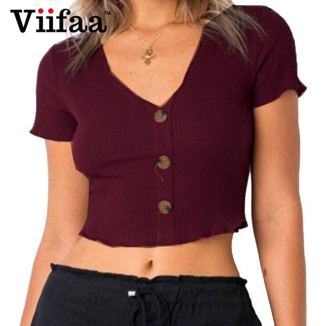 6b4395e6de18 Viifaa Short T Shirt Women Burgundy V Neck T-Shirt 2018 Summer Decorative  Button Sexy Streetwear Knitted Tees