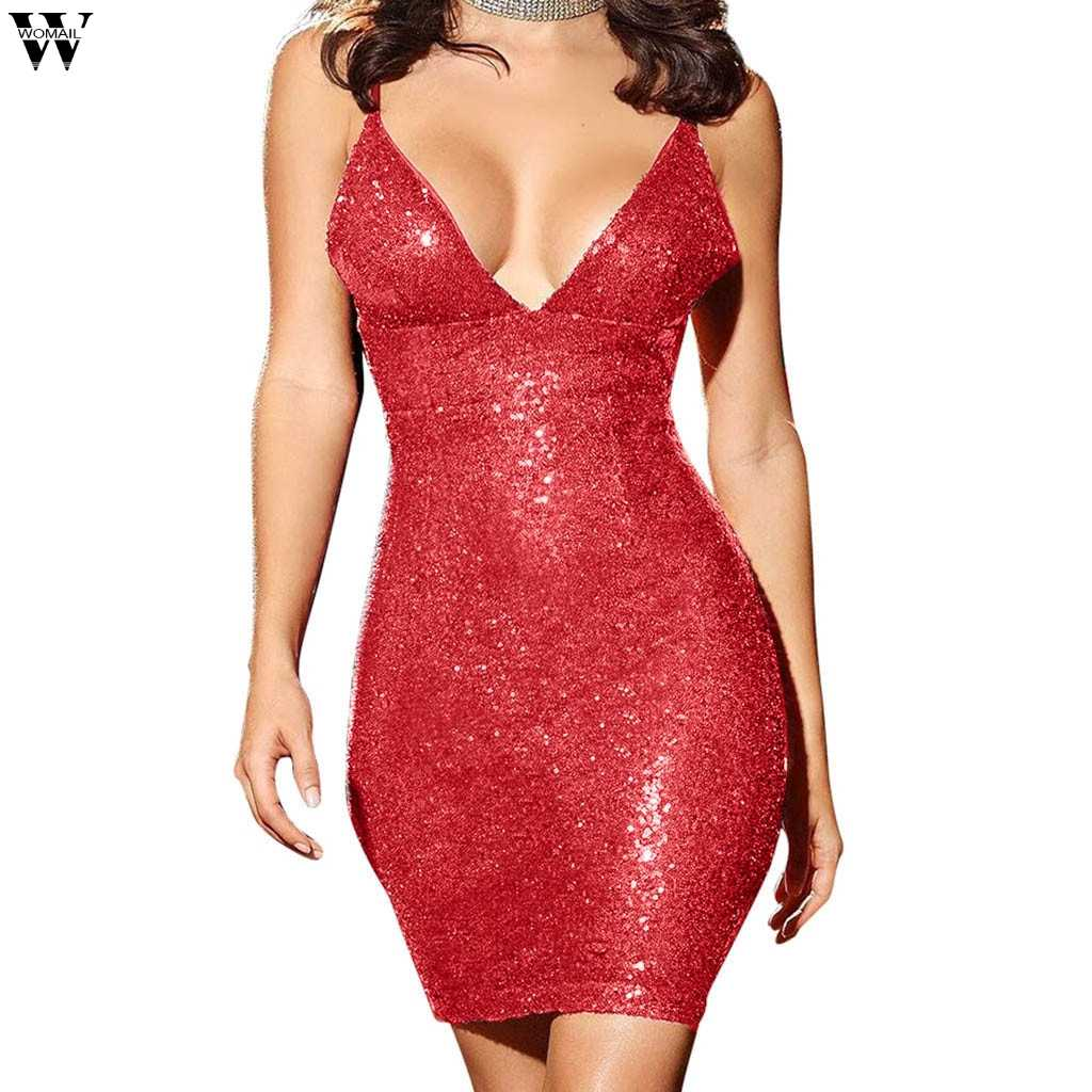 c7dd5545404 ... Womens Gold Black Sequins Dress 2019 New Sexy V-neck Backless Women  Sundress Luxury Party ...