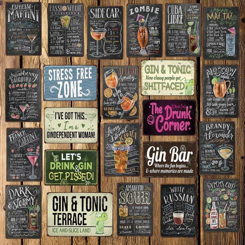 [ WellCraft ] Cocktail BAR Drunk corner BEER Tin Sign art Retro Mural Painting Custom Posters Gift Home Room Decor LT-1754