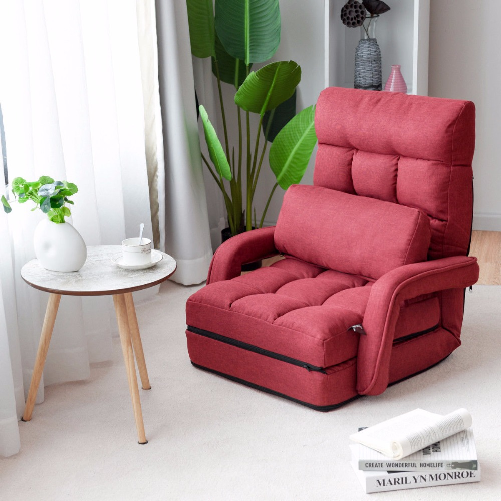 Goplus Folding Lazy Sofa Linen Modern Floor Chair Sofa Lounger Bed with Armrests and Pillow Living Room Chaise Furniture HW56730 цены