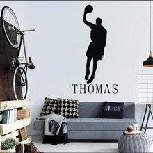 YOYOYU Wall Sticker Basketball Player Home Decoration Personalized Name Boys Room Vinyl Art Decor J014