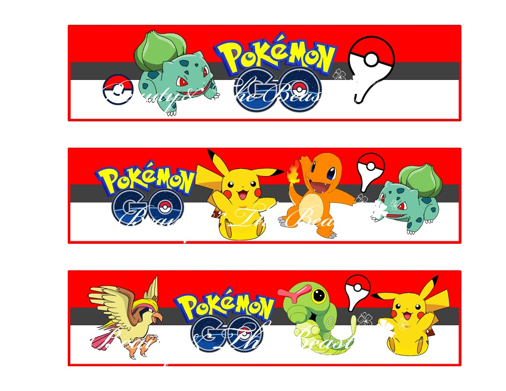 Pokemon Go Bottle Water Labels Party Wrappers Baby
