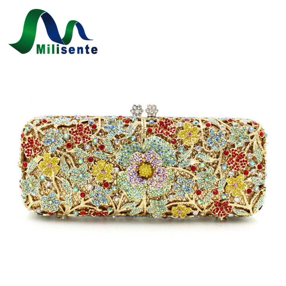 Milisente Luxury Rhinestone Handbag Beautiful Flower Crystal Wedding Clutch Purse Lady Party Bag Gold Silver Pink Blue luxury crystal clutch handbag women evening bag wedding party purses banquet