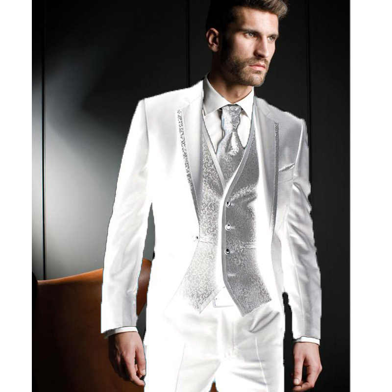 latest coat pant designs Men Suits Groom Tuxedos Wedding Suit Evening Party 2019 Jacket Pants Vest Male Blazer costume homme