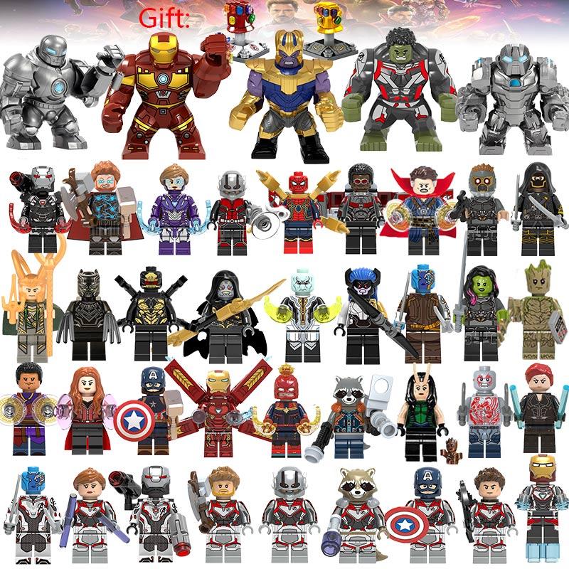 41 pçs/lote Super Heróis Blocos de Construção lEGOED 4 Marvel Avengers Capitão Vespa figuras Hulk Spiderman Homem De Ferro Brinquedos Endgame Thanos