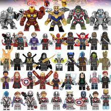 41 шт./лот Супер Герои строительными блоками LEGO, с принтами «Marvel», «Мстители», 4 капитан фигурки WASP Халк, Человек-паук Железный человек танос завершающей игрушки