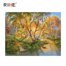 RIHE Forest Diy Painting By Numbers Abstract Tree Oil On Canvas River Cuadros Decoracion Acrylic Wall Picture For Room