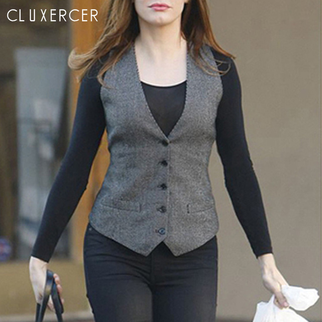 c17a5d15bde9f0 2019 New Spring Autumn Plus Size Business Office Ladys Vest For Women Work  Wear Slim V-Neck Plaid Sleeveless Vest