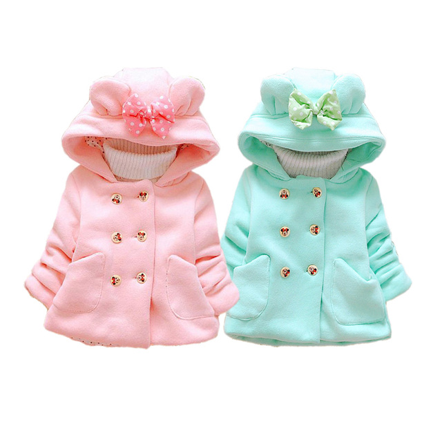 cute baby girl over coat cartoon minnie solid Winter warm hooded wool coat for 4-36M girls kids infant outerwear clothes roupas