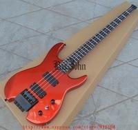 Guitarra eléctrica de bajo sin cabeza, instrumento en rojo con cuerpo de tilo BJF-63, Envío Gratis