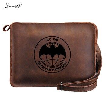 Custom inscription Genuine Leather ipad Bag Laser engrave Russian Federation Military Intelligence Handbag Leather Messenger Bag