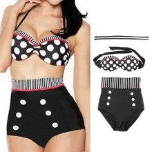 Retro Sexy High Waist Swimsuit Swimwear Bathing Push Up Bikini Set Polka Dot Summer Beach Bikinis Vintage Halter Underwire Bra