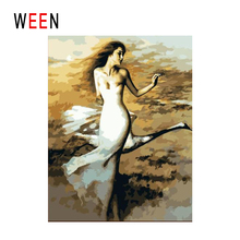 WEEN Dressing Girl Diy Painting By Numbers Abstract Dancing Bella Oil On Canvas Cuadros Decoracion Acrylic Wall Art Hot